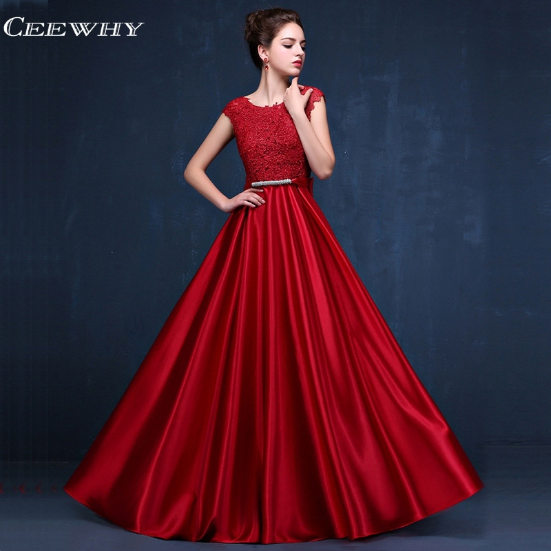 CEEWHY Burgundy Applique Evening Dress Long Formal Dress Women Elegant Evening Gown Plus Size Robe de Soiree Vestido Longo Abiye