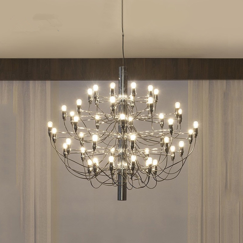 New Modern Romeo Moon Gino Sarfatti Chandeliers Branch Arms Lighting Fixtures Chrome Pendante Parlor Restaurant Living Room Lamp