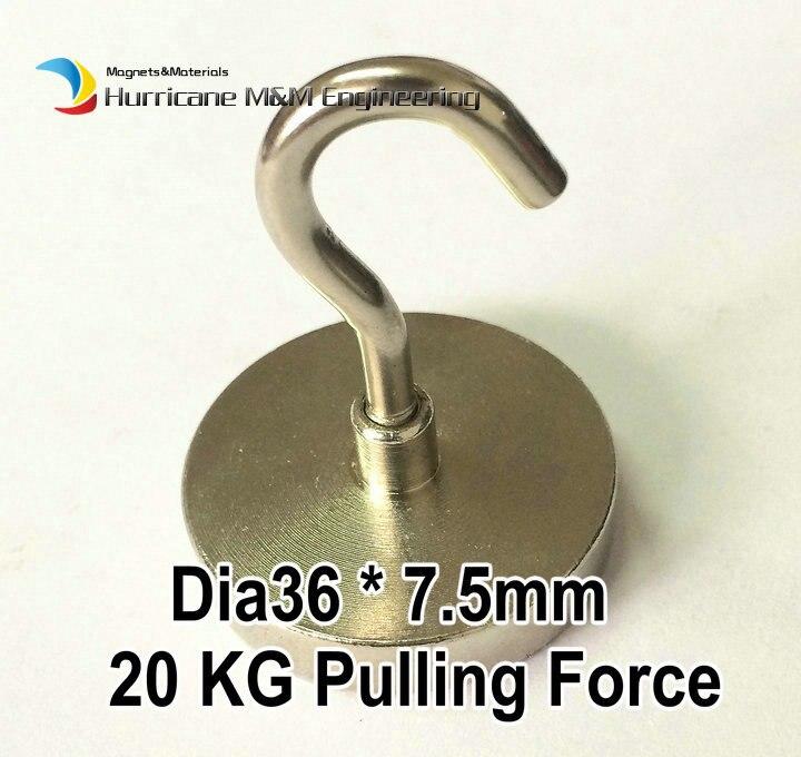20 kg tirando del imán de montaje Dia36x7.5 mm potes magnéticos con gancho  imán de elevación fuerte neodimio imanes permanentes nicuni d5331f386aeb