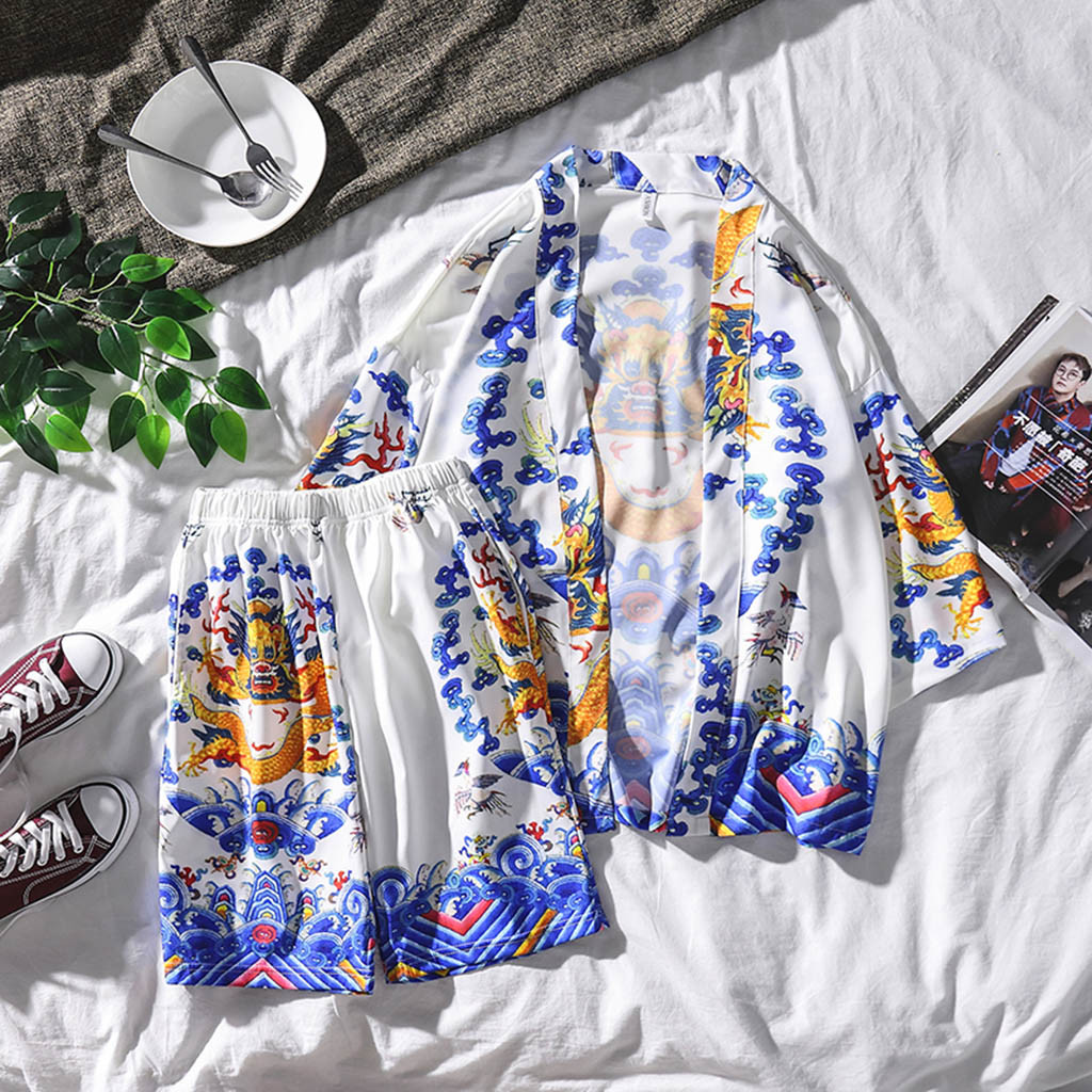 Summer Printing Suit Fashion Couple Personality Printing Shirt Cotton And Linen Hot Spring Pajamas Home Service Suit T617