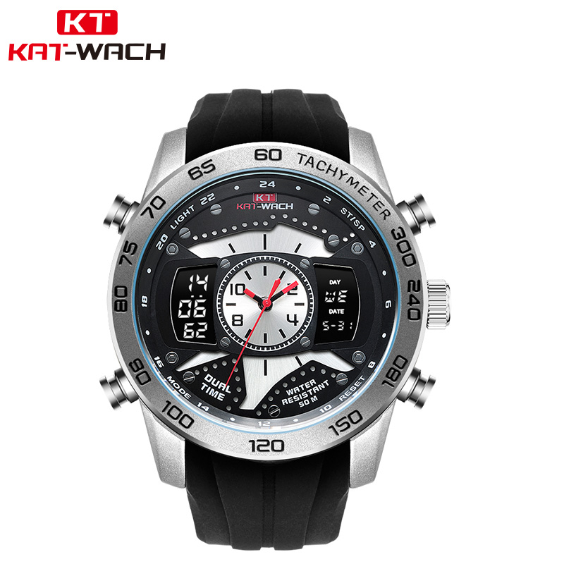 все цены на KAT-WACH Fashion Men's Watches Military Watch Chronograph Analog Quartz Watch Men Waterproof Silicone Rubber Strap Wristwatch онлайн