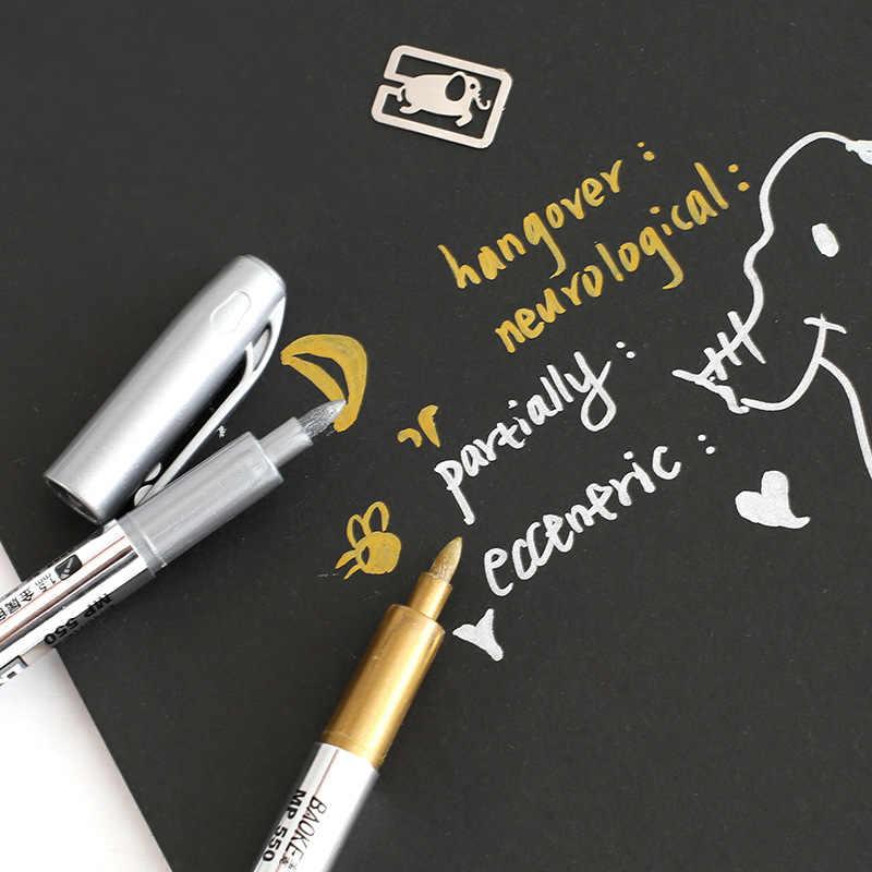 Carino Metallo Oro e Argento Penna di Indicatore Segno in Firma Sharpie Penne Penna Del Mestiere per Biglietto Di Auguri Album Ufficio Scuola forniture