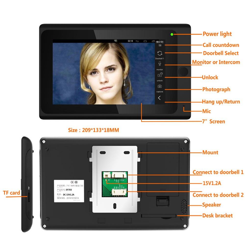 SmartYIBA WIFI Smart Door bell ID Cards Wired Wireless Intercom WIFI RFID Password Unlock Video Door Phone Electric Door Lock