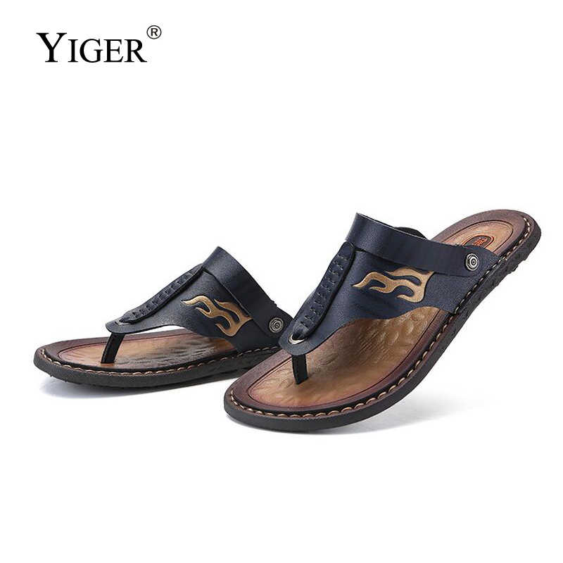 YIGER New Men's beach Slippers Flip-flop man non-slip beach shoes men's sandals large size 38-47 sandals and slippers summer 272
