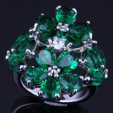 Superior Huge Green Cubic Zirconia White CZ 925 Sterling Silver Ring For Women V0166