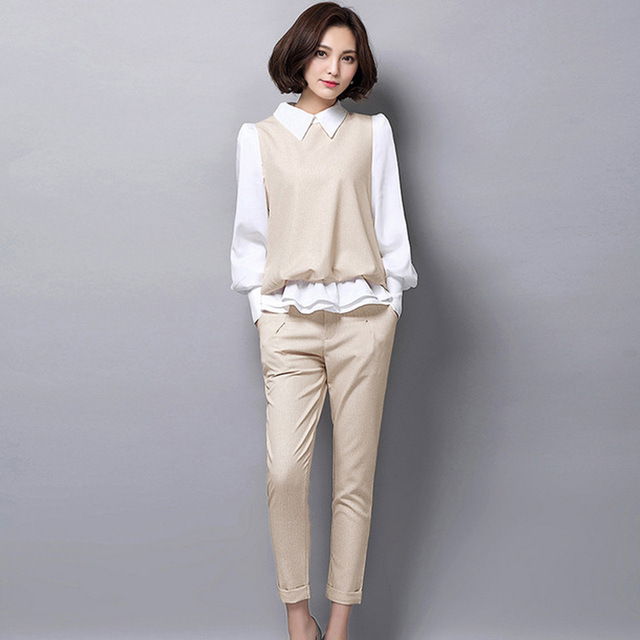 Elegant Pant Suits For Women 2018 Spring Fashion Ladies Outfits Lantern Sleeve Chiffon Blouse ...