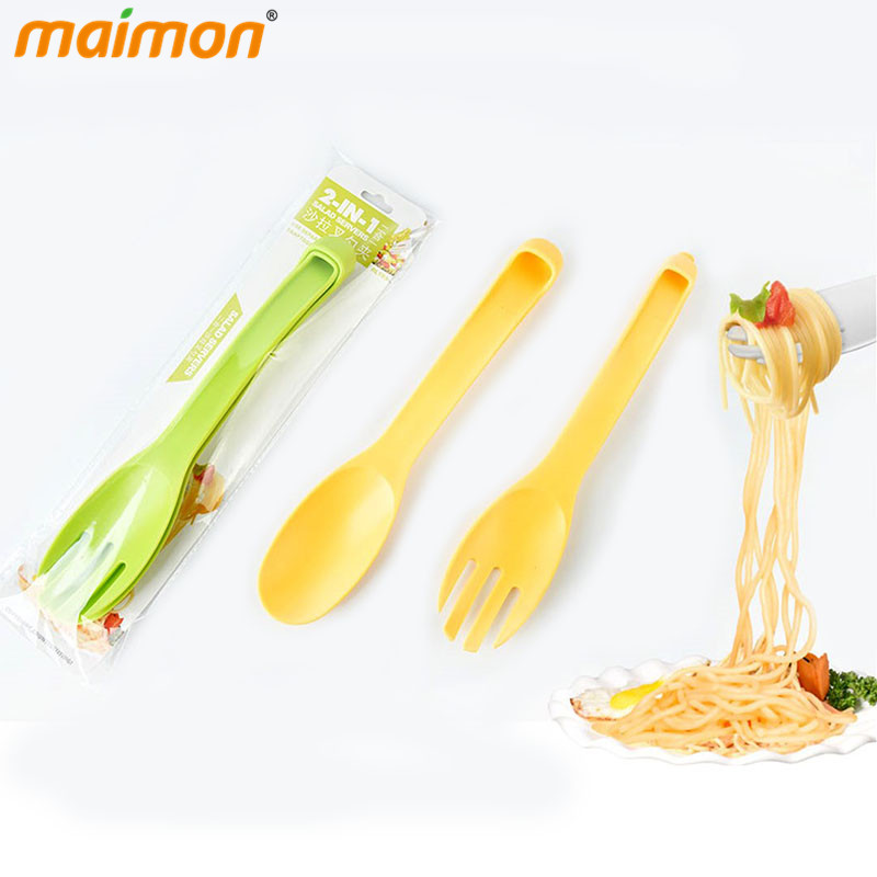 2 in 1 Salad Servers Plastic Fruit Fork Set Party Cake ...