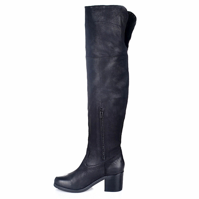 Prova Perfetto European Popular Female Boot Grind Arenaceous Leather High Heels Boot Winter Plush In Over The Knee Shoes Black