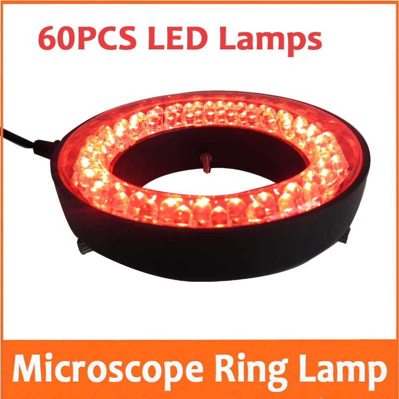Red Color Light - 60PCS LED Adjustable Zoom Microscope Ring Lamp with Adapter 220V or 110V  for Biological Stereo Microscopes blue light 60 led lamps stereo biological zoom microscope led circular ring microscopy lighting with adapter 220v or 110v