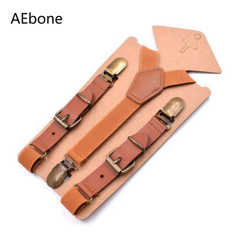 AEbone 1-9 Year Tirantes Bebe Baby Boy Suspenders Brown Leather Bretels Kids For Pants 2*75cm Suspensorio Beige Braces Sus36