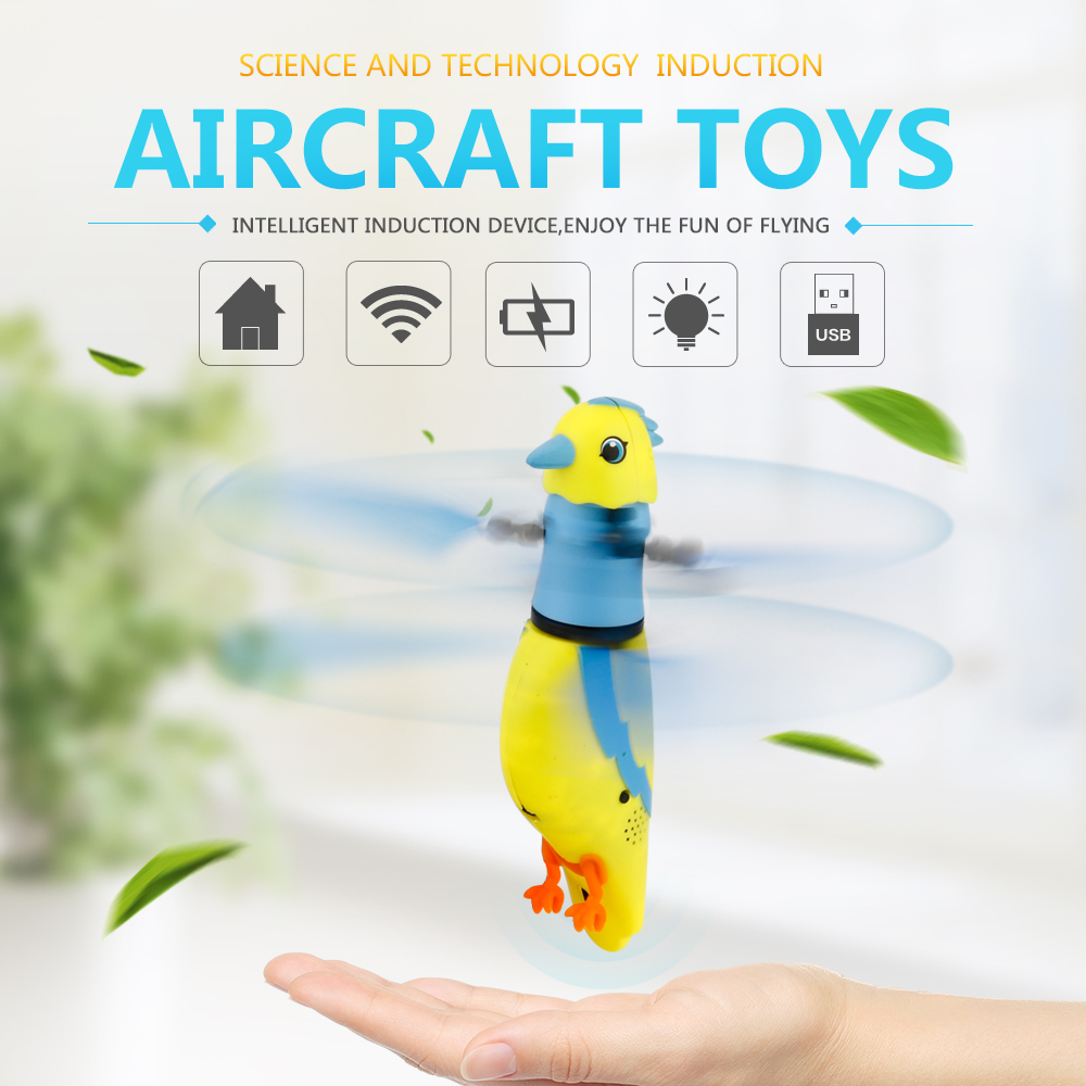 Induction Flying Parrot with Lights and Birdcall Flashing Light Flying Animal Toys for Kids Baby Funny Gift MWZ Childrens Toys