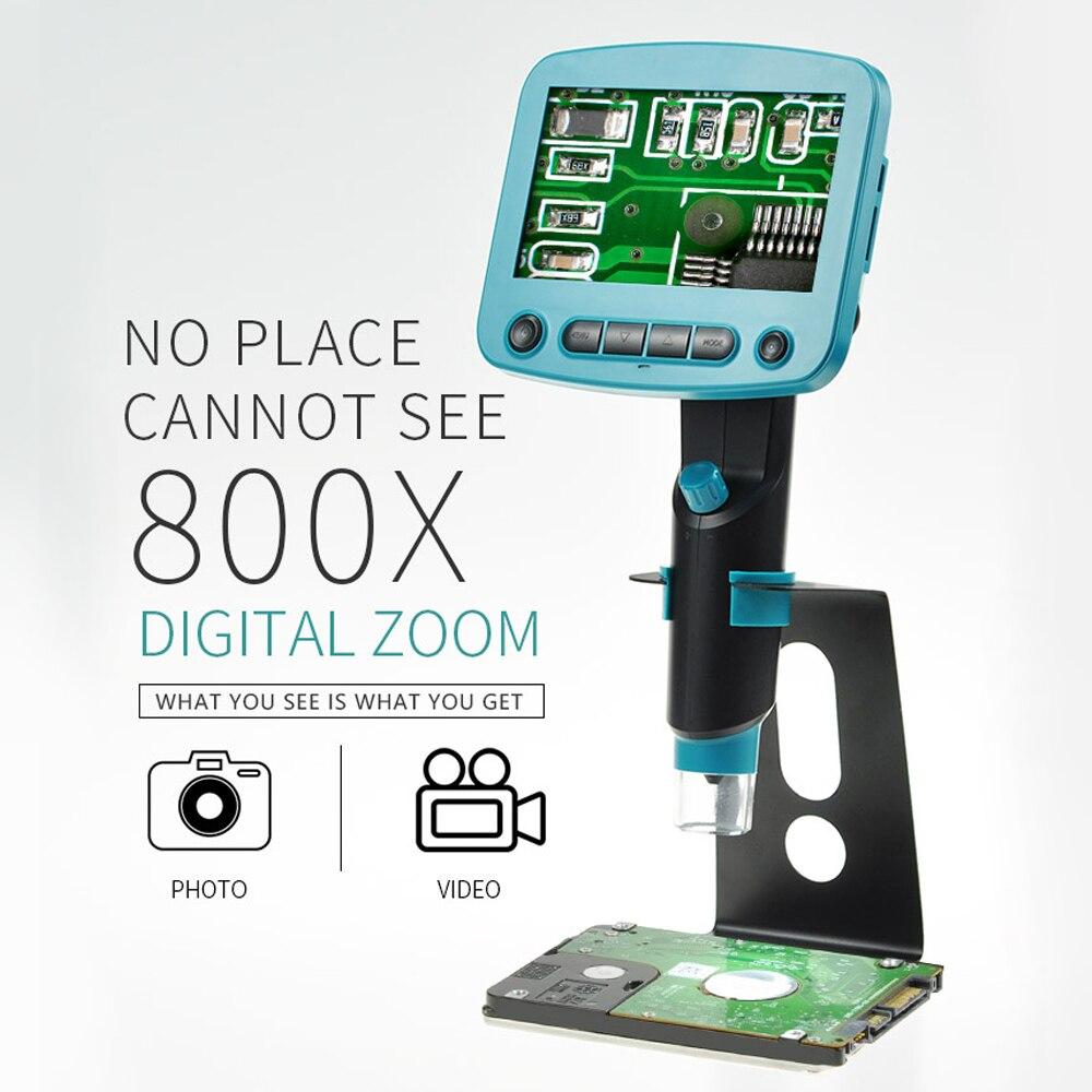 800 х 4,3 дюйма ЖК-дисплей Дисплей 8 светодиодов Портативный USB Цифровые микроскопы промышленности пайки Mikroskop Лупа