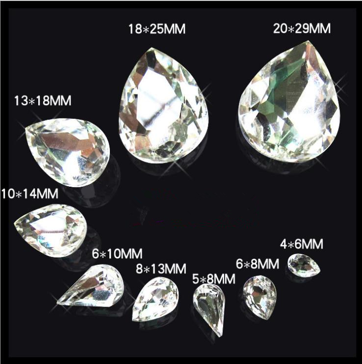 Crystal Clear Rivoli Fancy Stone Many sizes pointed Tear Drop loose rhinestone Glass glue on DIY Crafts Jewelry Making