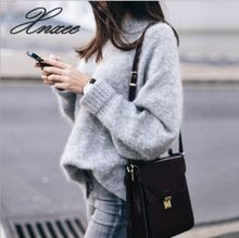 2019 autumn and winter street fashion hooded bottoming sweater loose large size female