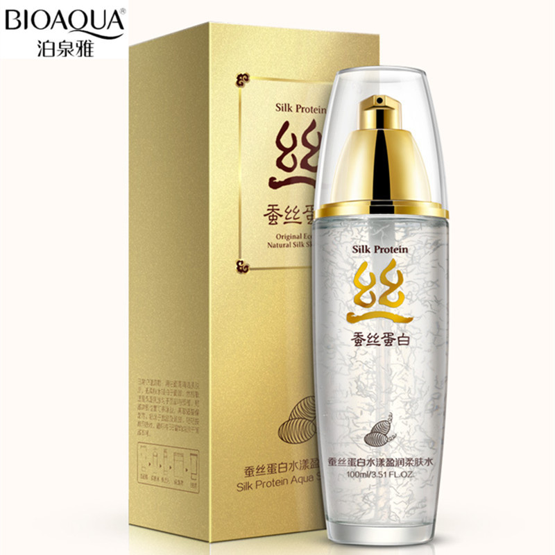 BIOAOUA 100ml Silk Moisturizing Enriched Toner Water Nourishing Face Care Nutrition Hydrating Whitening Tonic Liquid Beauty image