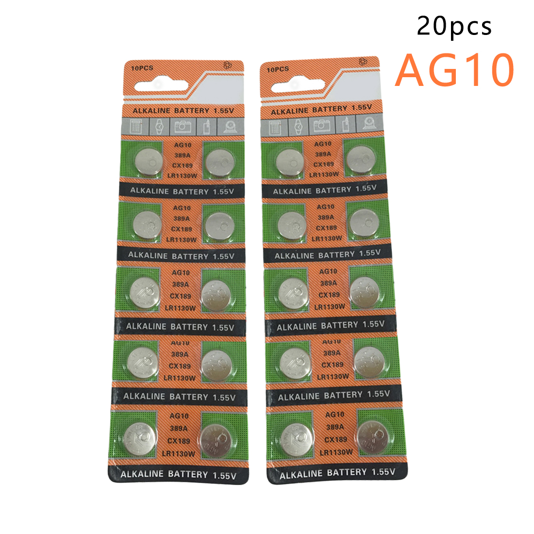 Centechia Top Sale 20 Pcs  Watch Battery 10 Pcs 1.55V AG10 LR54 LR1130 L1131 389 189 Alkaline Batteries Button Cell Coin