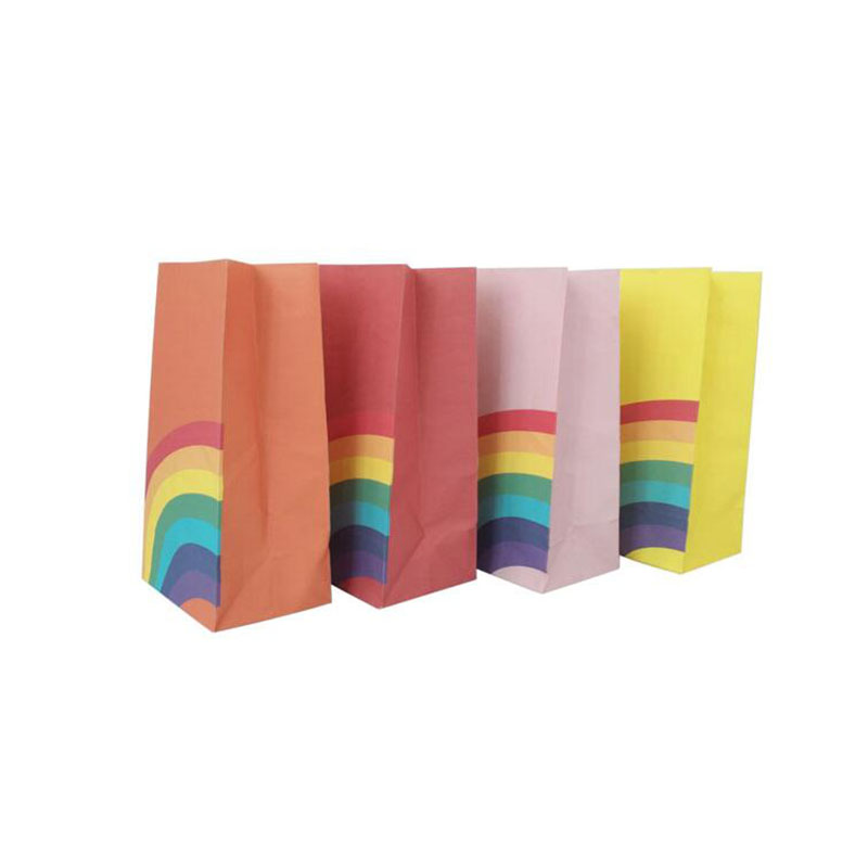 8pcs/lot Mixcolor rainbow design Food Bags Open Top Gift Packing Paper Bag 12*8*22.5cm Gift Bags & Wrapping Supplies(China)