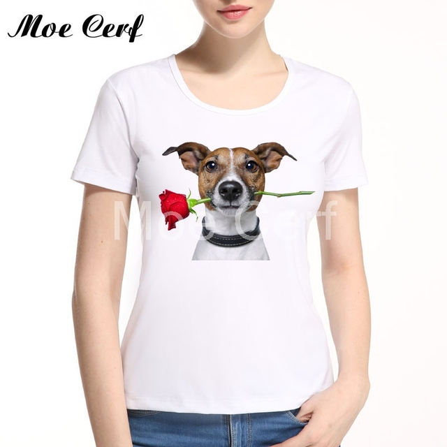 2019 3d Rose Dog Women T Shirt Unisex Harajuku Casual Funny T Shirt Lady Top Tees Hipster Valentine's Day Gift For Lover L13-37