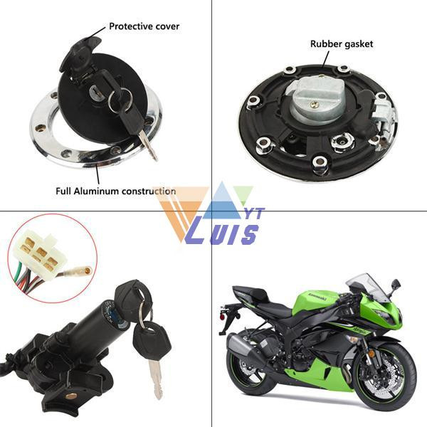 Motorcycle ignition switch +fuel gas cap+ seat lock key set (13)
