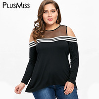PlusMiss Plus Size 5XL Sexy Mesh Sheer Open Back Cold Shoulder Top Women Clothing Long Sleeve
