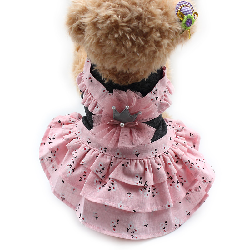 Armi store Flower Pattern Spring Summer Dog Dresses Lovely Princess Dress For Dogs 6071078 Pet Clothing Supplies XS S M L XL