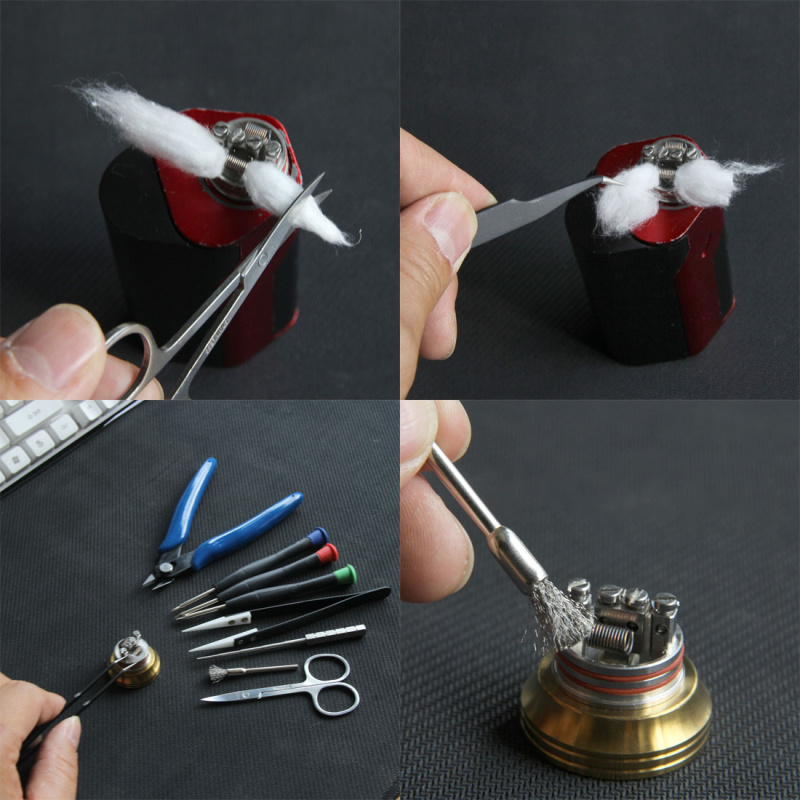 Electronic Cigarette V3 DIY Vape Tool Kit 9 Kinds Different Useful Coil Jig Screwdriver Scissors Pliers Ceramic Tweezer Brush