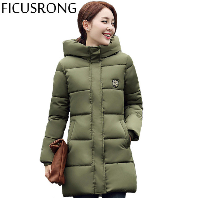 Winter Women's Fashion Down Warm Coats 2016 New Arrival Fashion Long sleeve Hooded Jackets Slim Style Casual Parka Coat IF615