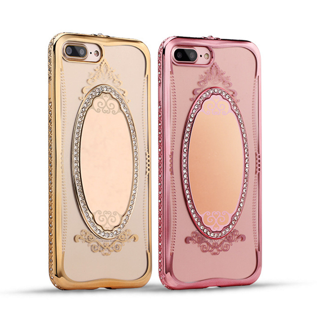 197e3559c6 Luxury Princess Rhinestone Mirror Plating TPU Makeup Case for iPhone X 8 7 6  6S SE 5S Diamond Back Cover for Iphone 7 8 6S Plus. Price: