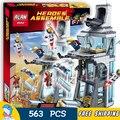 563 ШТ. SY370 супергерои Нападение на Башня строительные блоки Мстители Тони Старк Кирпичи Подарки Игрушки Совместимость С Lego