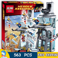 563 unids sy370 superhéroes ataque avengers tony stark torre de bloques de construcción ladrillos regalos juguetes compatibles con lego
