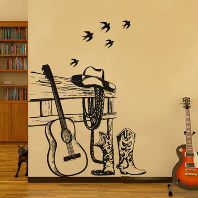 Guitar cowboy household adornment wall stickers wholesale black ...