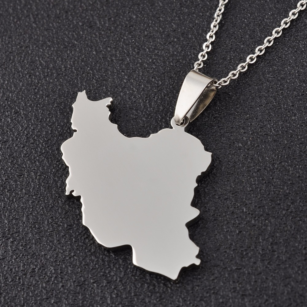Silver Color Iran Maps Pendant Necklace for Women Ethnic Jewelry Gifts #J0740B