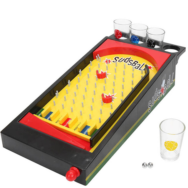 deluxe sudsball drinking game pinball machine set with shot glass