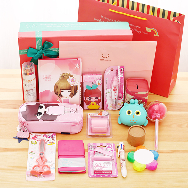 Lovely fashion 16 pieces Stationery set gift box, stationery box, children's primary school, school gift, birthday gift m&g stationery set primary school pupil intelligence box multifunctional kindergarten teaching aid prize
