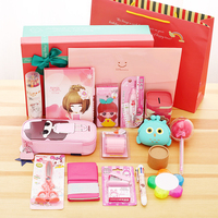 Lovely fashion 16 pieces Stationery set gift box, stationery box, children's primary school, school gift, birthday gift