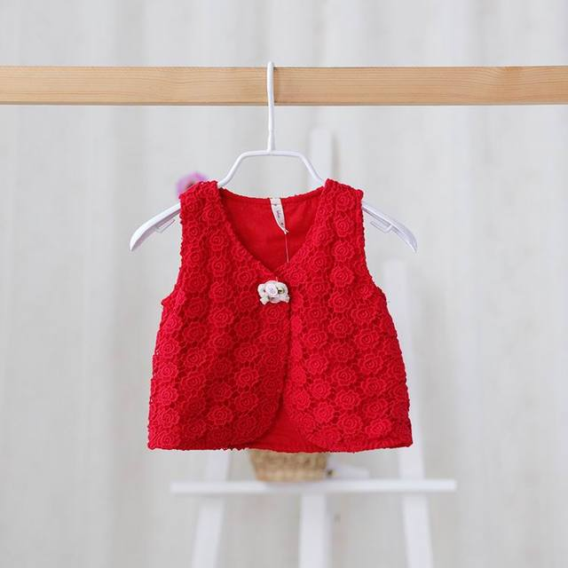 Idea 2016 Spring New Baby Girl Waistcoat Kids Lace Embroidery Fashion Vests 0-3Y 2332