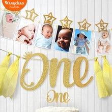 Новорожденный один год ребенок душ фото зажимы Мерцающая Звезда Дети День рождения фото плакат фоновое украшение для вечеринки аксессуары
