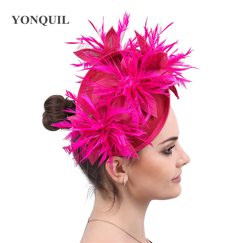Hot pink hair fascinators hat sposa party wedding hats and floral fascinator with feathers headbands accessories or 16 Colors