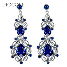 HOCOLE Fashion Long Crystal Drop Earrings Geometric Flower Leaf Statement Dangle For Women Wedding Maxi Jewelry Brincos