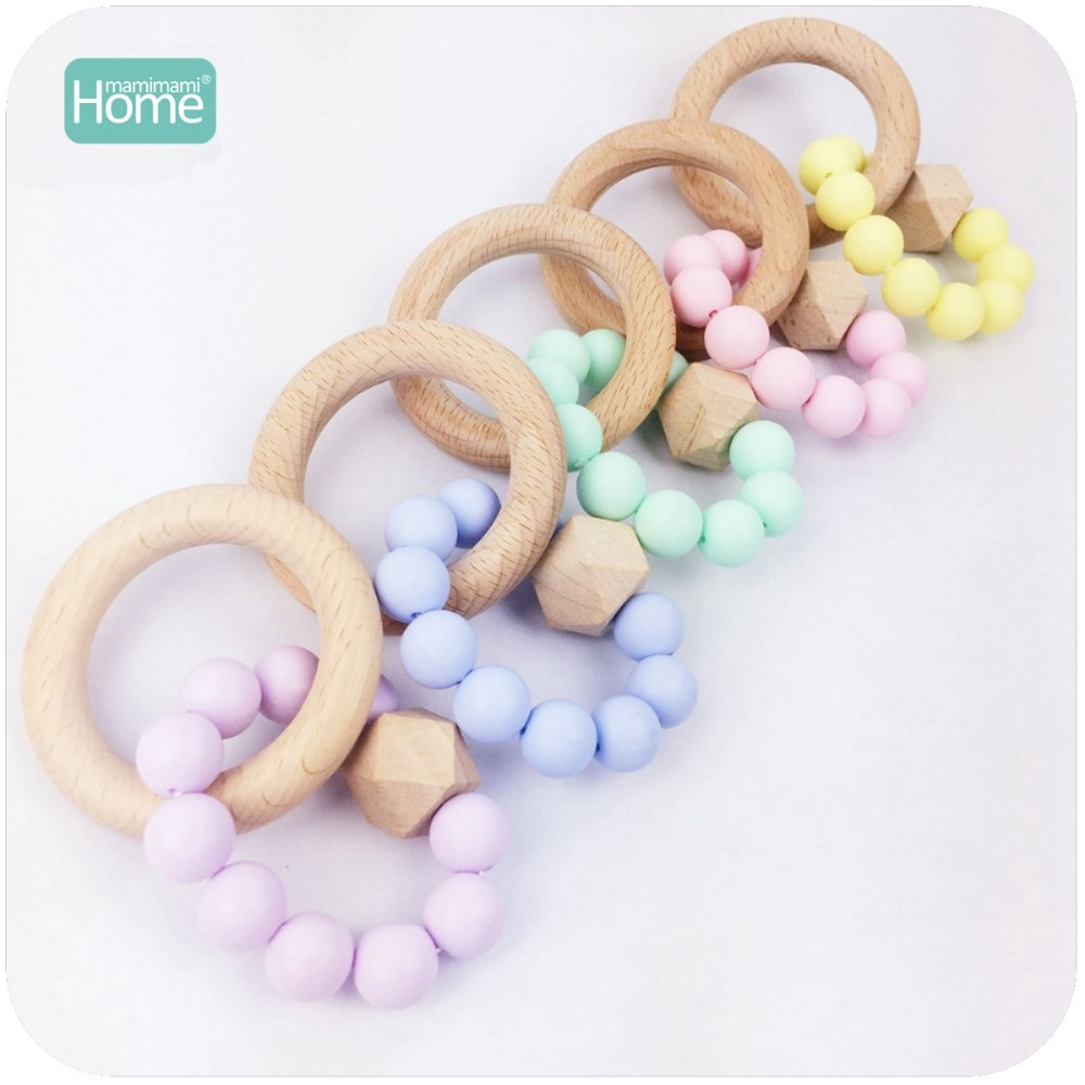 MamimamiHome Baby Nursing Accessories Beech Wood 5pc Silicone Bracelet Waldorf Toy For Children Organic Teether Baby Rattle