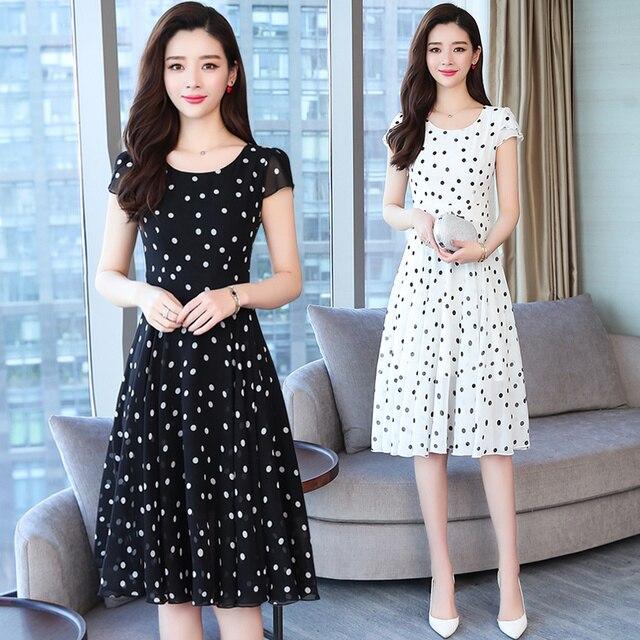 meilleur site web 82b7d 7d257 Été Vintage blanc Dot mousseline de soie robes plage 2019 coréen grande  taille Boho Sexy Midi robe d'été élégant femmes moulante fête Vestido