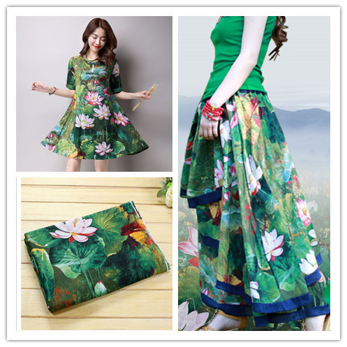 7a221c830c 0.5m Cotton Linen Lotus Dress Shirt Fabric Painting Flower Chinese Wind  Spring summer Flax Blouse Qipao Fabric Tablecloth Green