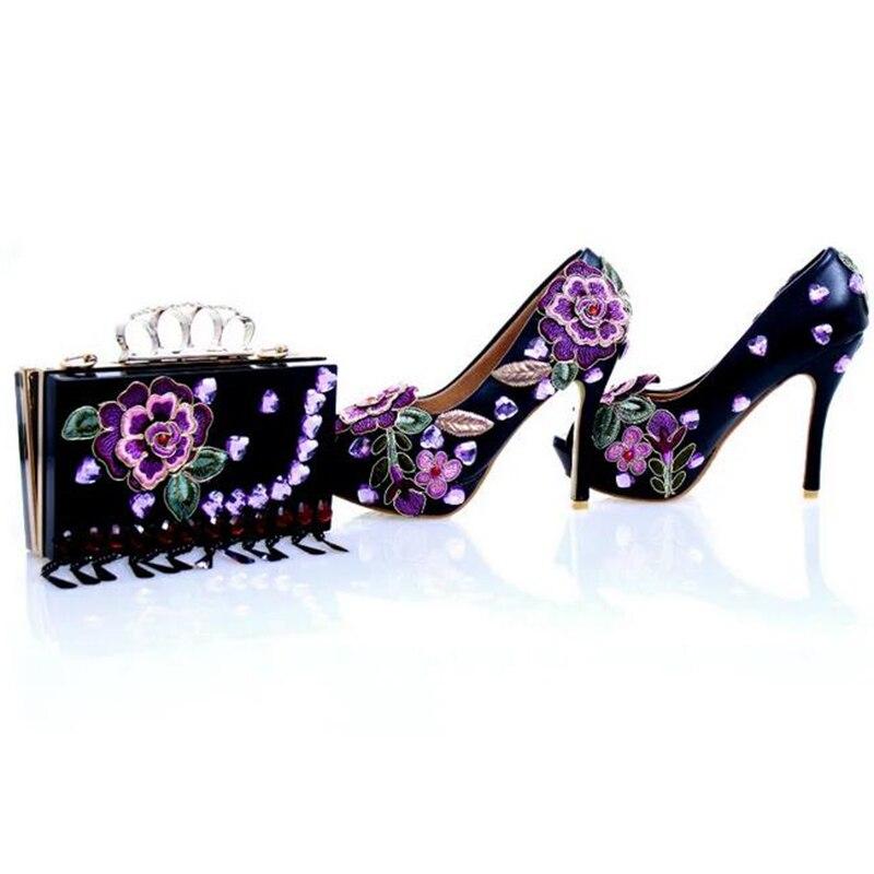 Decoración Estilete Nupcial De Tacón Black Nuevo 12cm Rhinestone 7 2018 Boda Flor Peep Toe Heels 4 Diseñador Púrpura Pulgadas Alto Handmake gx4YwqT