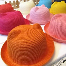DreamShining Summer Baby Hats Cat Ears Kids Sun Caps Brand Straw Hat Cap Beach Girl Visor