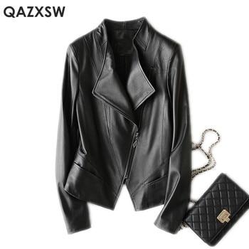 QAZXSW Genuine Leather Jacket 2019 New Women Fashion Plus Size Leather Sheepskin Bomber Jacket Short Leather Coat Female LH1274