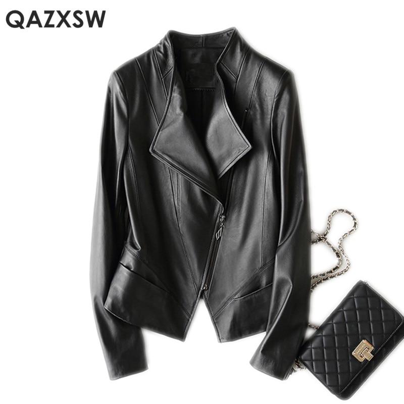 Kadın Giyim'ten Deri ve Süet'de QAZXSW Hakiki Deri Ceket 2019 Yeni Kadın Moda Artı Boyutu Deri Koyun Derisi Bombacı Ceket Kısa Deri Ceket Kadın LH1274'da  Grup 1