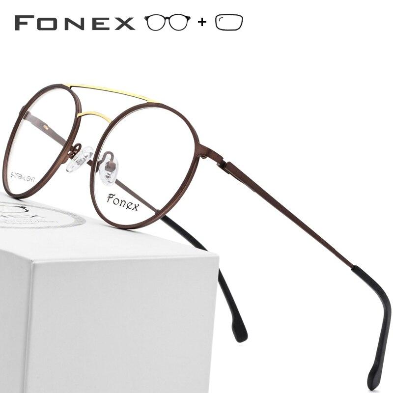 8fe5cd5eb9 Aleación de titanio gafas hombres ultraligero Vintage redondo gafas Retro  mujeres miopía marcos ópticos sin tornillos gafas