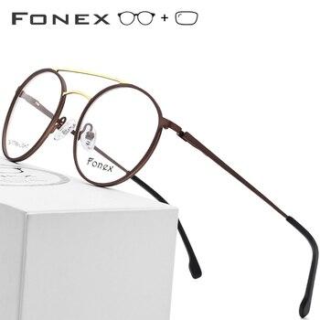 6e37cfd774 Gafas graduadas de aleación de titanio para hombre ultraligero Vintage gafas  redondas para mujer montura óptica Retro de miopía gafas sin tornillos