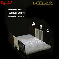 1/6 Scale Scene Accessories FEELWOTOYS FW005 SINGLE Metal Bed+WHITE Mattress or PILLOW+QUILT+SHEETS Set For 12in Action Figure