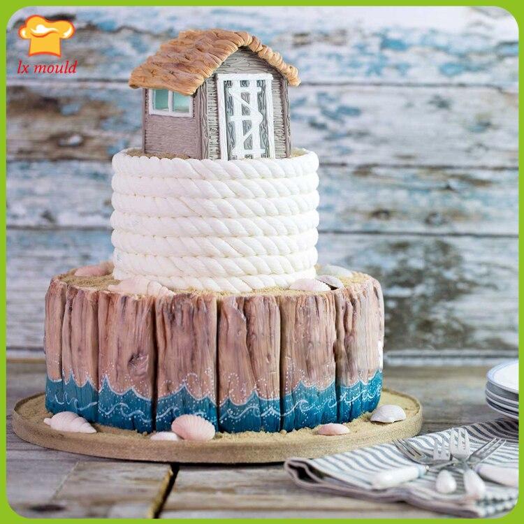 Braided hemp rope board Fudge cake silicone mold shell Conch beach elements cake decoration mold